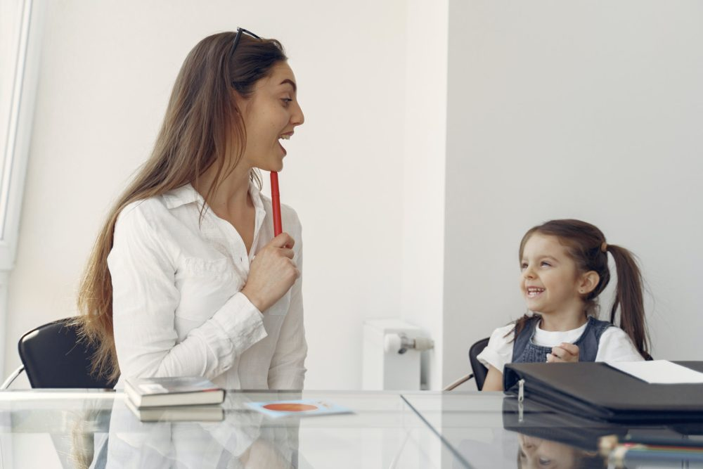 Cheerful Woman And Kid Having Fun In Office 4149077 3